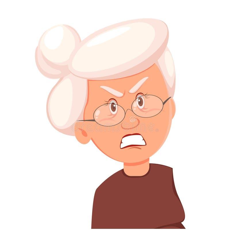 Twarzy wyrażenie babcia, gniewny ilustracji
