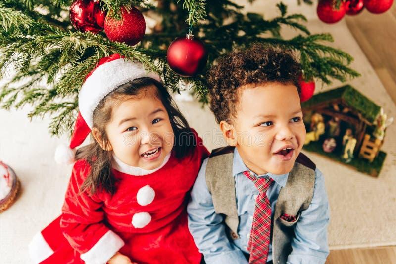 Twee aanbiddelijke 3 éénjarigenjonge geitjes die door de Kerstboom spelen stock fotografie