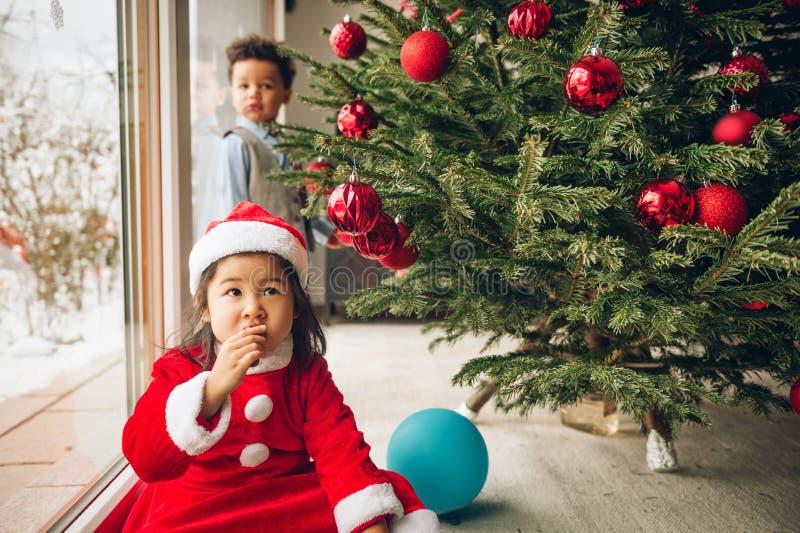 Twee aanbiddelijke 3 éénjarigenjonge geitjes die door de Kerstboom spelen royalty-vrije stock afbeelding