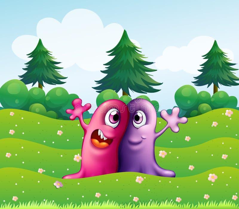 Twee aanbiddelijke eenogige monsters dichtbij de pijnboombomen vector illustratie