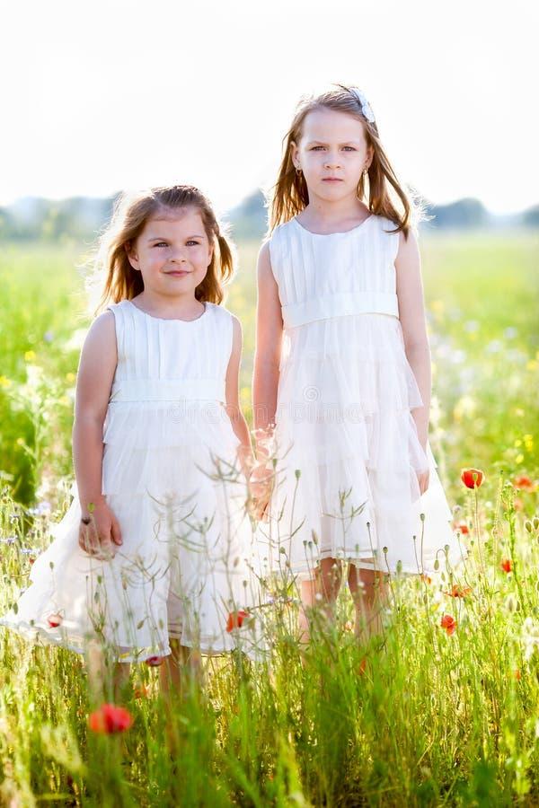 Twee aanbiddelijke meisjes in witte kleding die zich in de weide bevinden stock afbeeldingen