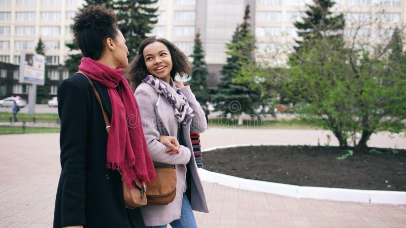 Twee aantrekkelijke gemengde rasvrouwen met het winkelen doet het spreken in zakken en het lopen onderaan de straat De meisjes he royalty-vrije stock afbeelding