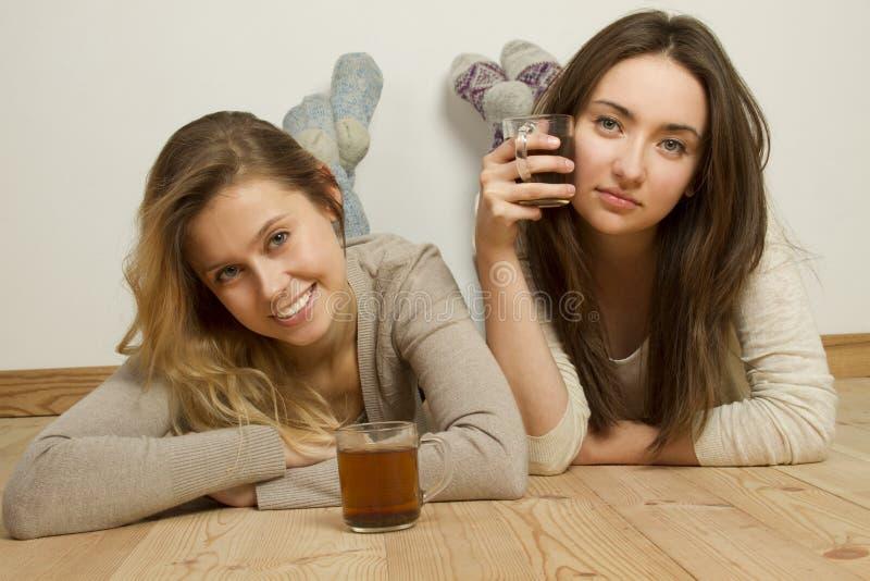 Twee aantrekkelijke vrienden die thee drinken royalty-vrije stock fotografie