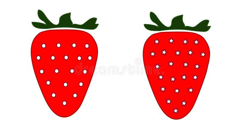 Twee aardbeienillustratie stock foto's