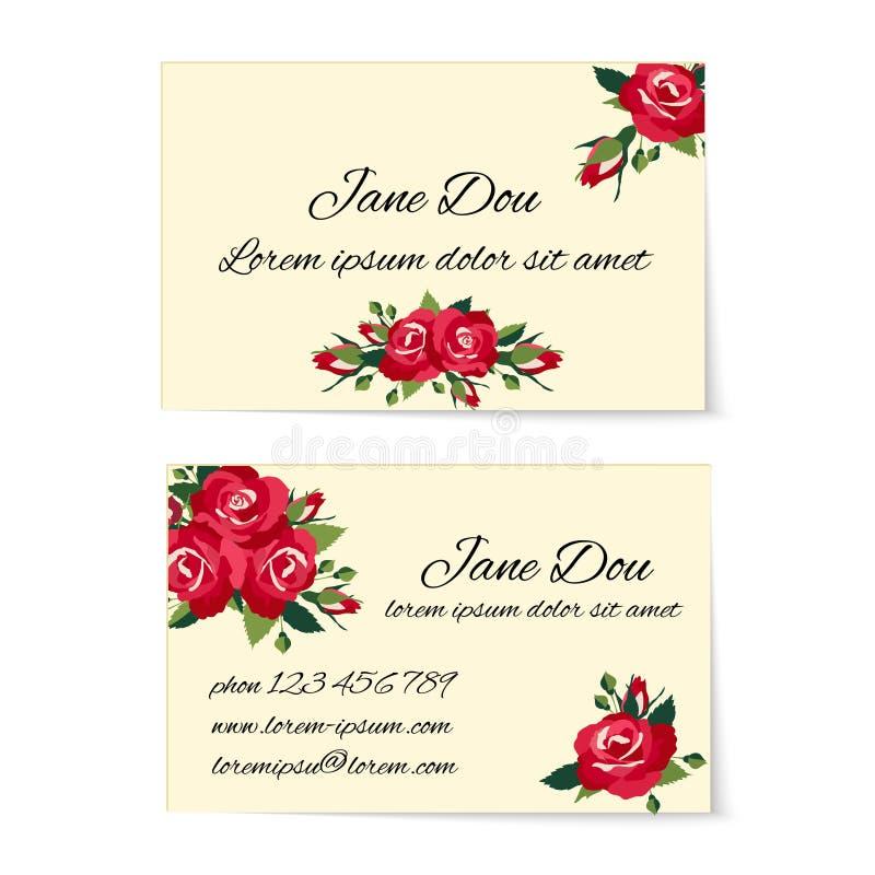 Twee adreskaartjemalplaatjes met rode rozen stock illustratie