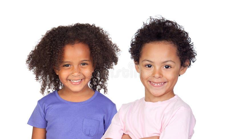 Twee Afro-Amerikaanse kinderen stock afbeeldingen