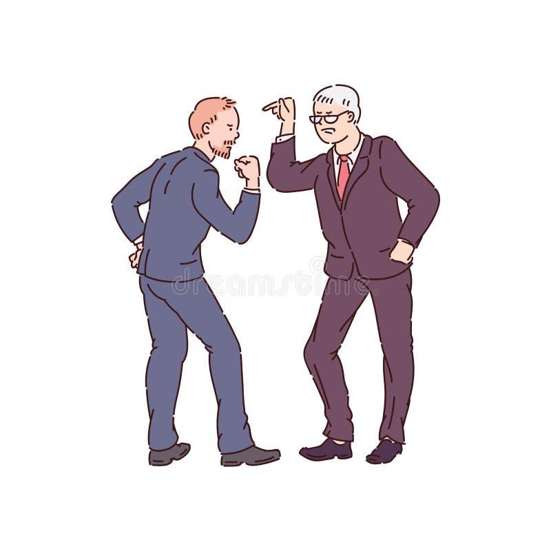 Twee agressieve die mensen in conflict en tonen agressievector op wit wordt geïsoleerd vector illustratie