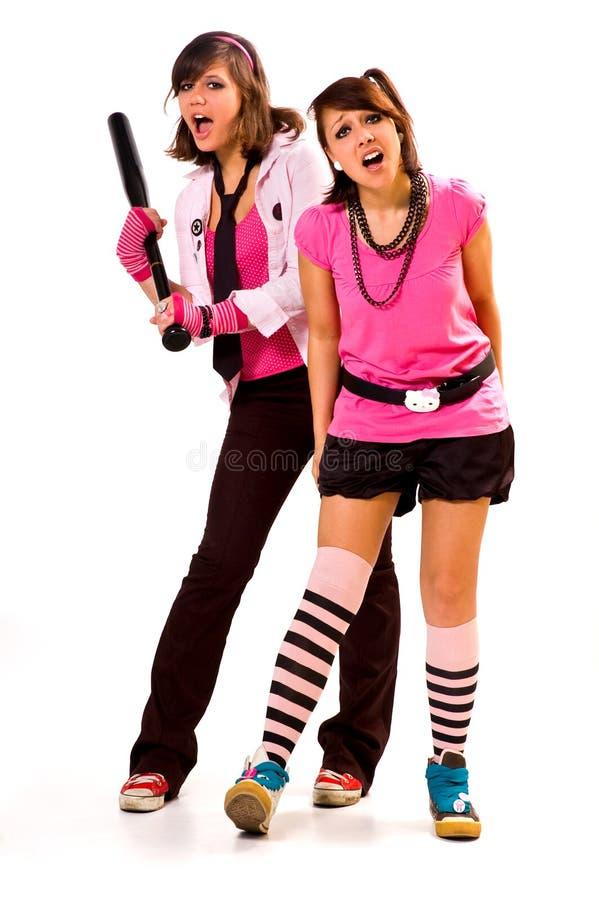 Twee agressieve meisjes stock afbeelding