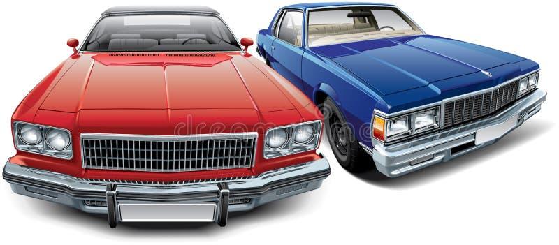 Twee Amerikaanse uitstekende auto's vector illustratie