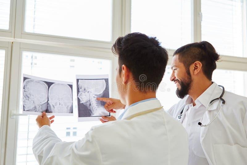 Twee artsen die x-ray beeld analyseren stock fotografie