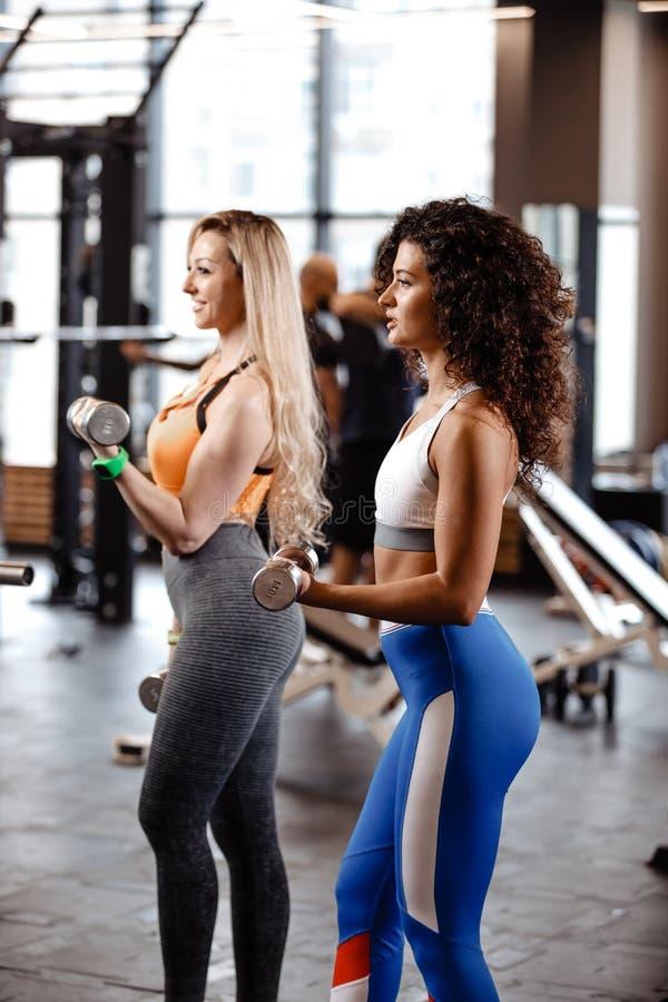 Twee atletische meisjes gekleed in een sportkleding doen oefeningen met domoren in de moderne gymnastiek met groot venster royalty-vrije stock foto