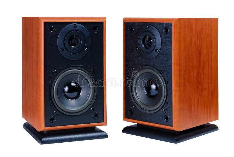 Twee audiosprekers stock afbeeldingen