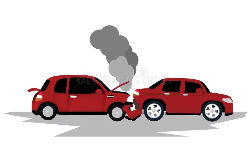 Twee autoschade op de weg stock illustratie