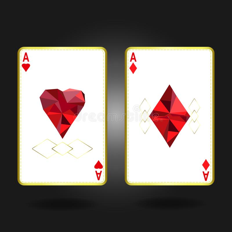 Twee azen met een voorkant met een hart en een tamboerijn met een specifiek ornament en gouden overzicht stock illustratie