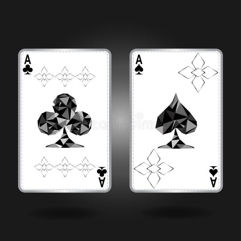 Twee azen met een voorkant met een hart en een tamboerijn met een specifiek ornament en zilveren overzicht vector illustratie