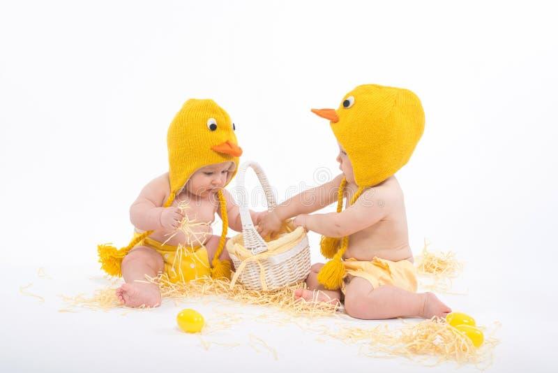 Twee babys in kippenkostuums met wit mand en hooi stock foto's
