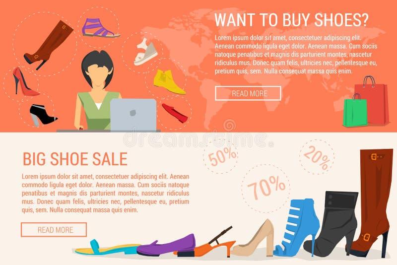 Twee banners de het online winkelen en verkoop van de vrouwenschoen stock illustratie