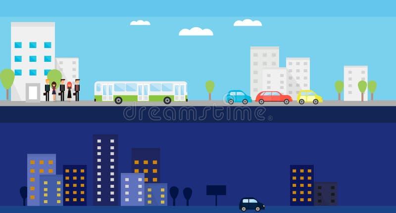 Twee banners met dag en nacht het stadsleven Vector vlakke illustratie met mensen, bus, auto's en bomen vector illustratie
