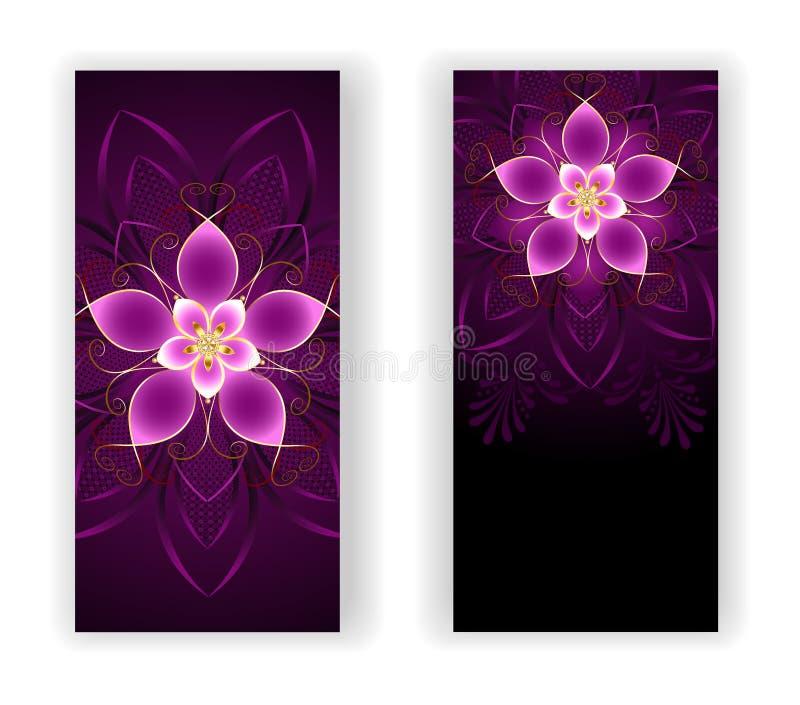 Twee banners met roze bloem stock illustratie