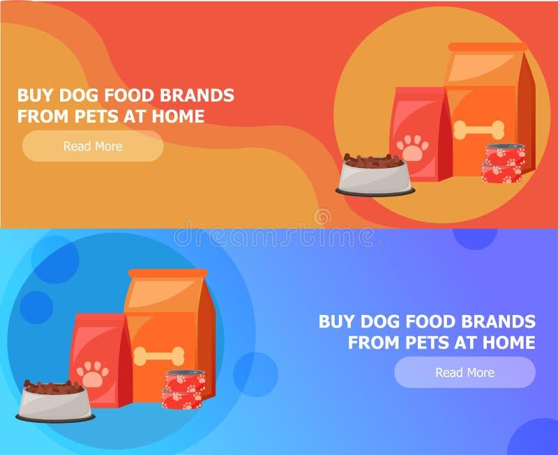 Twee banners voor dierenvoer Voedsel voor katten en honden Kom, Verpakking, Reclame stock illustratie