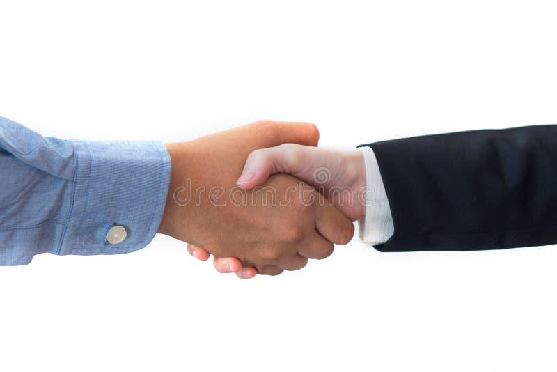 Twee bedrijfsdiemensenhanddruk op witte achtergrond voor commercieel vergaderingsconcept wordt geïsoleerd royalty-vrije stock foto's