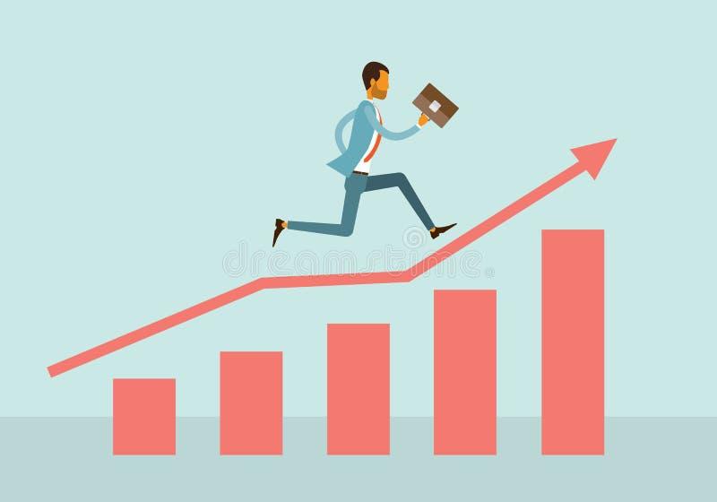 Twee bedrijfsmens concurrerend op grafiekconcept stock illustratie