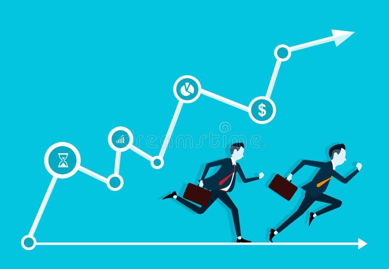 Twee bedrijfsmens concurrerend in zaken op grafiek vector illustratie