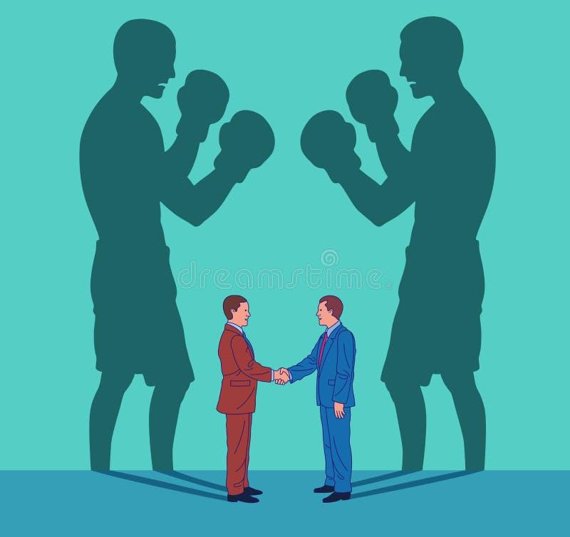 Twee bedrijfsmensen schudden handen terwijl hun schaduwen als boksers vechten royalty-vrije illustratie