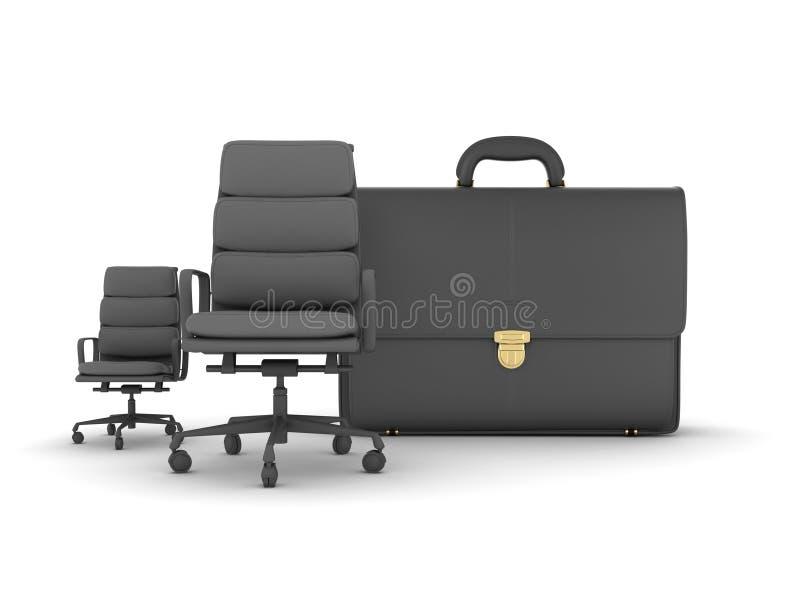 Twee bedrijfsstoelen en leeraktentas royalty-vrije illustratie