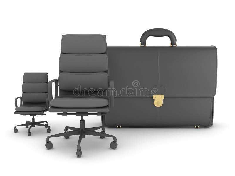 Twee bedrijfsstoelen en leeraktentas stock illustratie