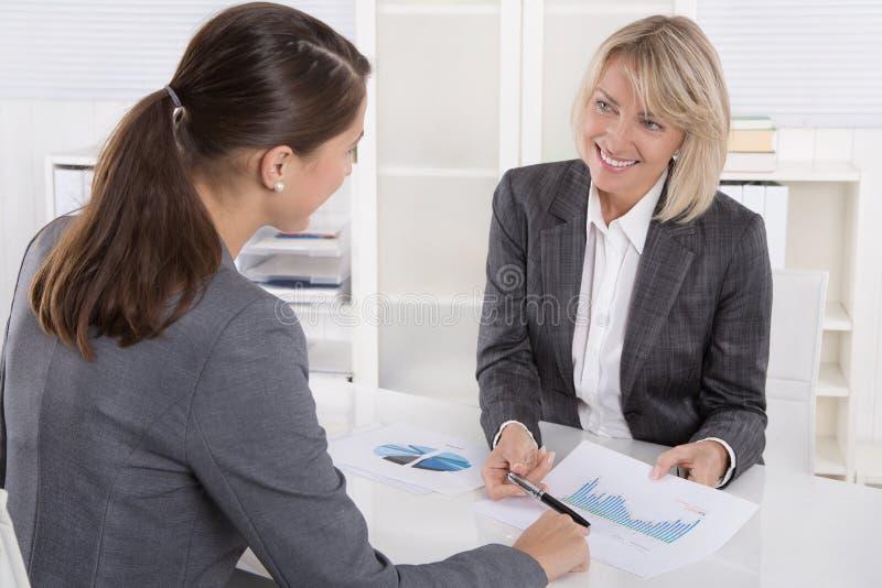 Twee bedrijfsvrouwenzitting bij bureau: klant en adviseurs het spreken royalty-vrije stock afbeelding