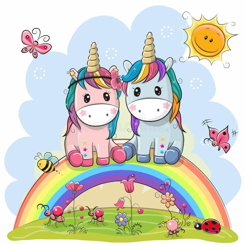 Twee Beeldverhaaleenhoorns zitten op de regenboog stock illustratie