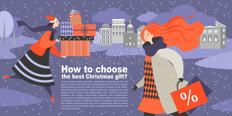 Twee beeldverhaalmeisjes op zoek naar giften vector illustratie