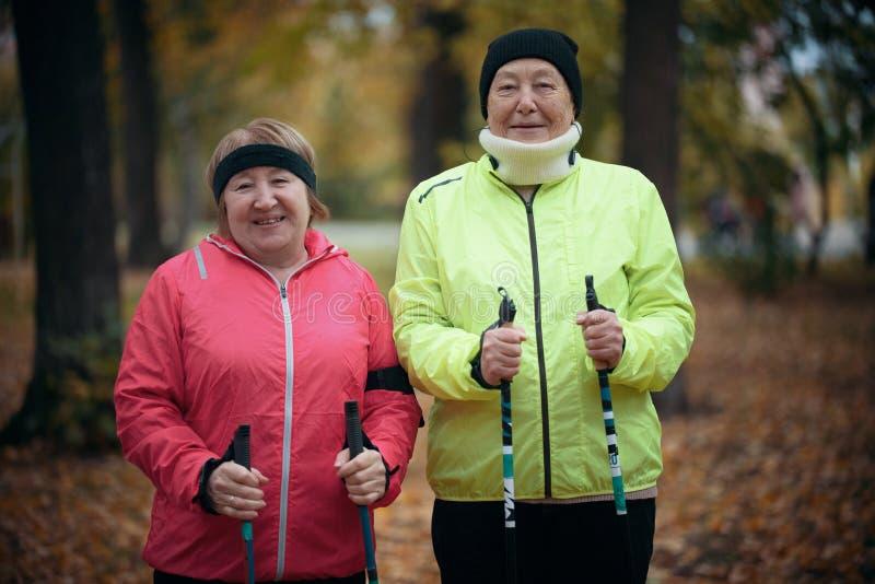 Twee bejaarden bevinden zich in een park met stokken voor het noordse lopen Medio schot royalty-vrije stock foto