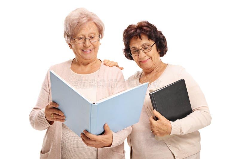 Twee bejaarden die een boek lezen stock fotografie