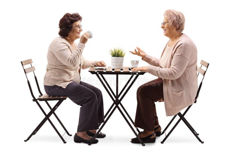 Twee bejaarden die koffie drinken bij een lijst en het spreken stock foto