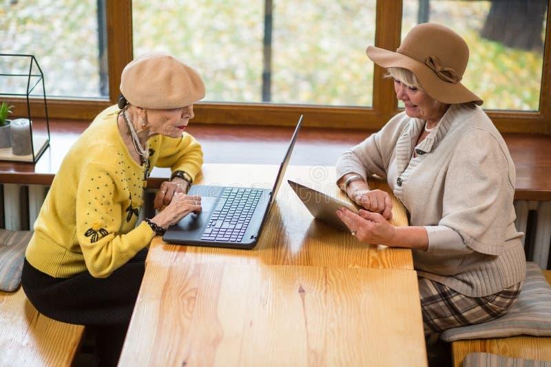 Twee bejaarden en laptop royalty-vrije stock foto's