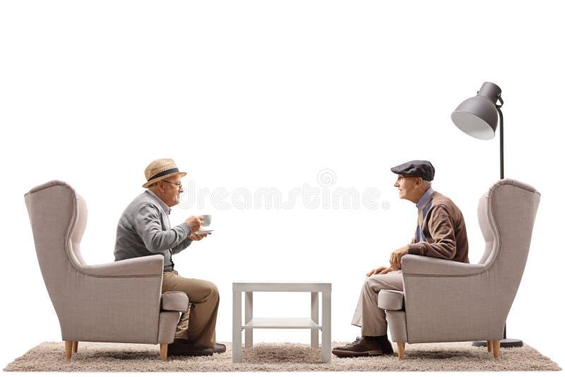 Twee bejaarden gezet in leunstoelen die een gesprek hebben royalty-vrije stock foto