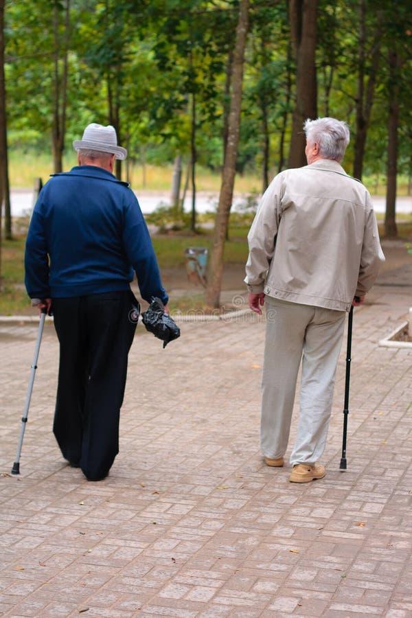 Twee bejaarden lopen onderaan de straat royalty-vrije stock afbeeldingen