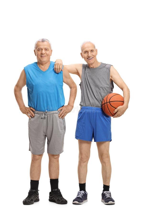 Twee bejaarden in sportkleding stock fotografie