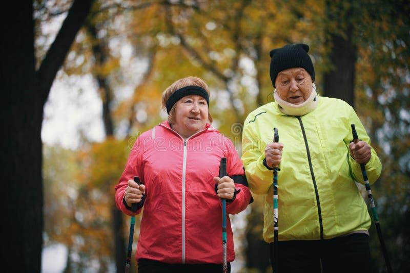 Twee bejaarden zijn betrokken bij het Skandinavische lopen in het park Medio schot stock afbeeldingen