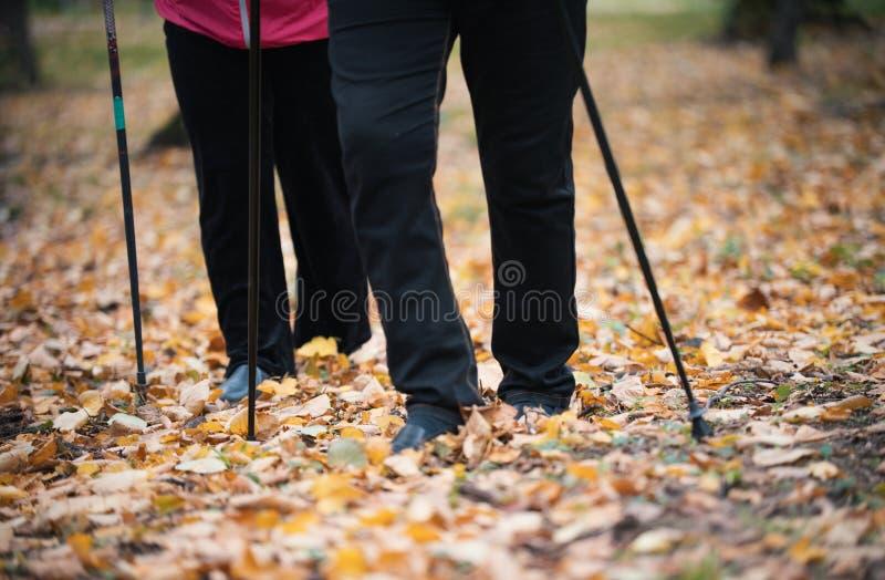 Twee bejaarden zijn betrokken bij het Skandinavische lopen in het park voeten royalty-vrije stock afbeeldingen