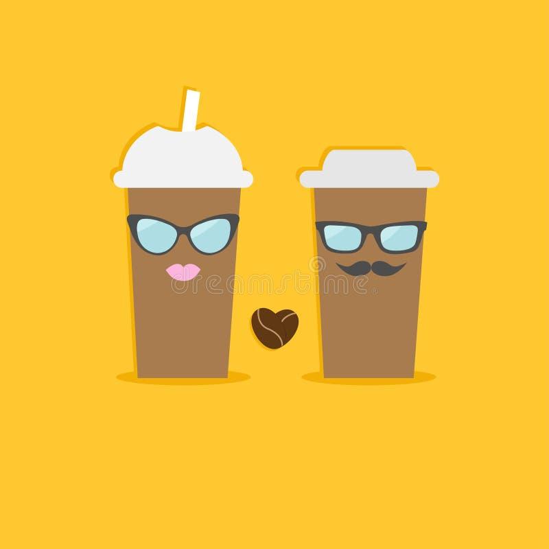 Twee beschikbare koffiedocument koppen met de lippen van de zonnebrilsnor en boonhart Vlak Ontwerp vector illustratie