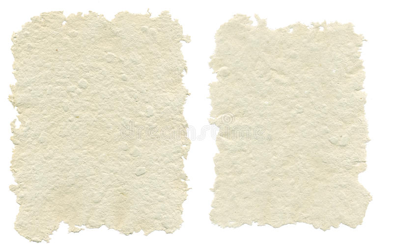 Twee bladen van met de hand gemaakt document stock foto's
