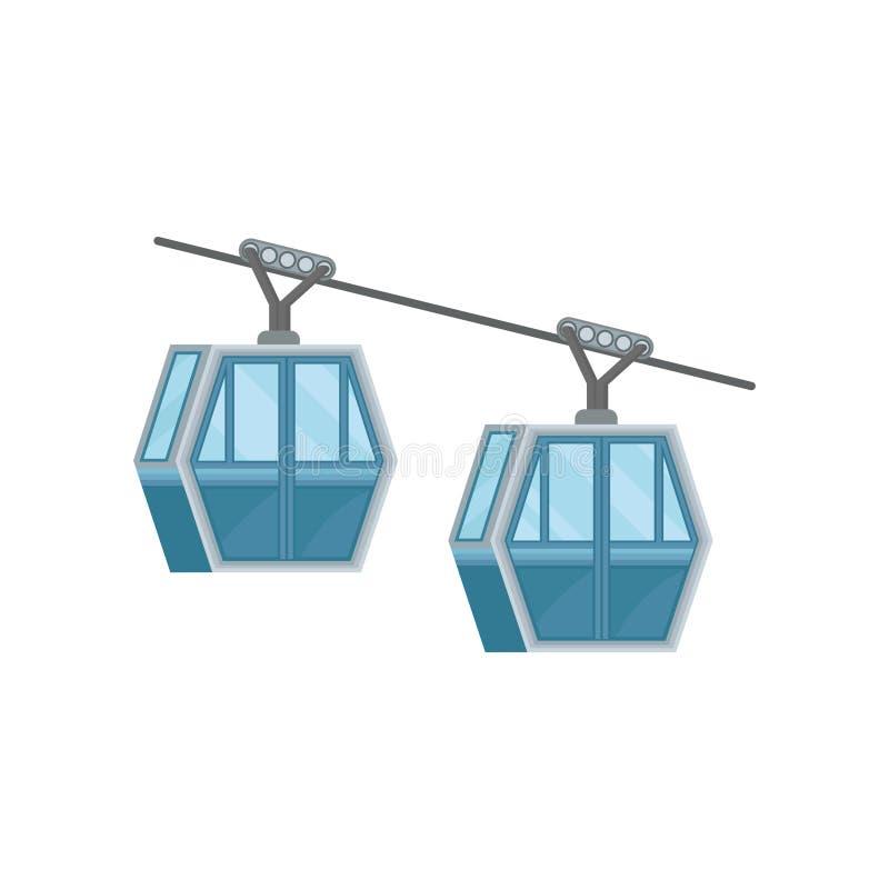 Twee blauwe cabines op ropeway Modern kabelvervoer in Hong Kong Openbare kabelbaan Vlakke vector voor reisaffiche of stock illustratie
