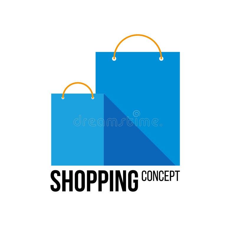 Twee blauwe document het winkelen zakken met plaats voor tekst of etiket stock illustratie