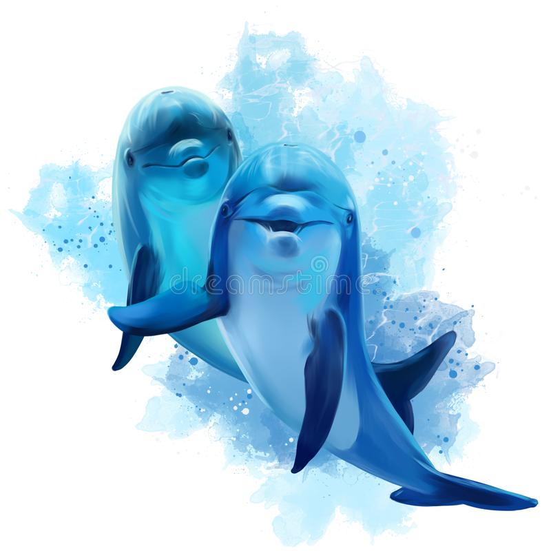 Twee blauwe dolfijnen vector illustratie