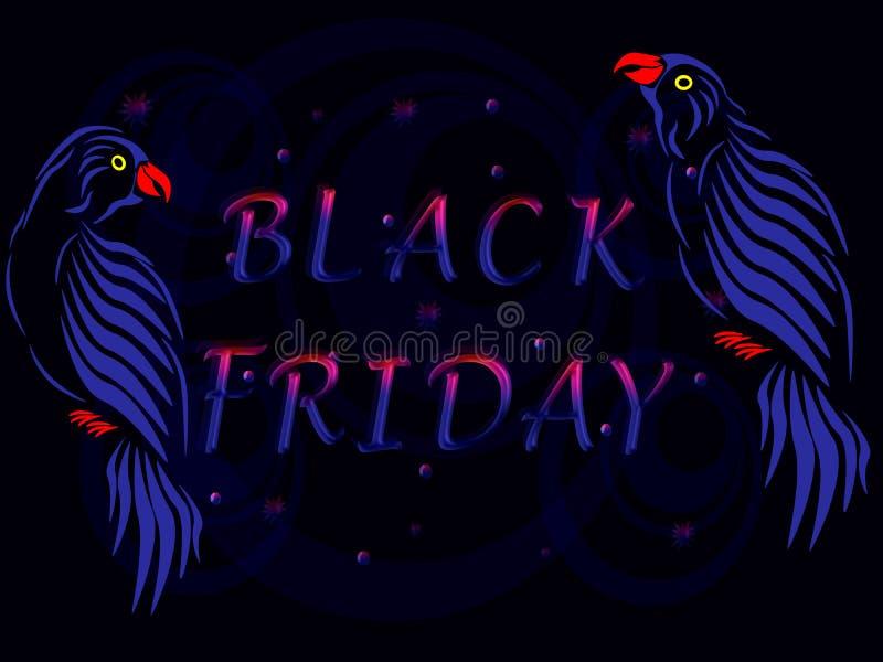 Twee blauwe papegaaien met de inschrijving Black Friday royalty-vrije stock foto's
