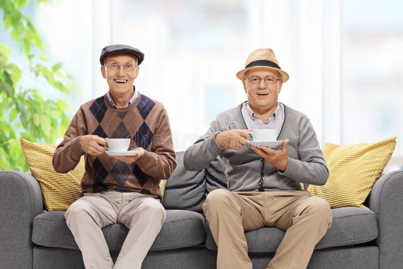 Twee blije bejaarden met koppen stock foto