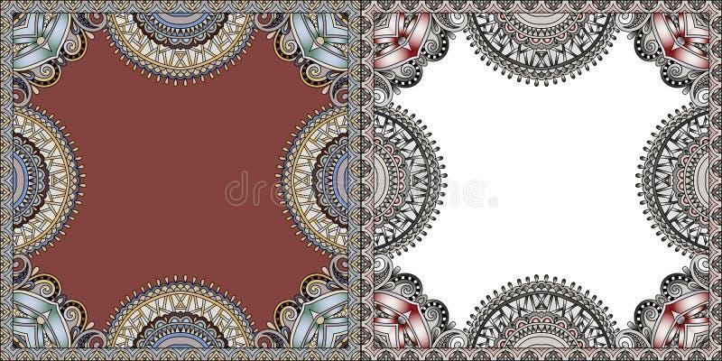 Twee bloemenkaderontwerp, overladen bloempatroon stock illustratie